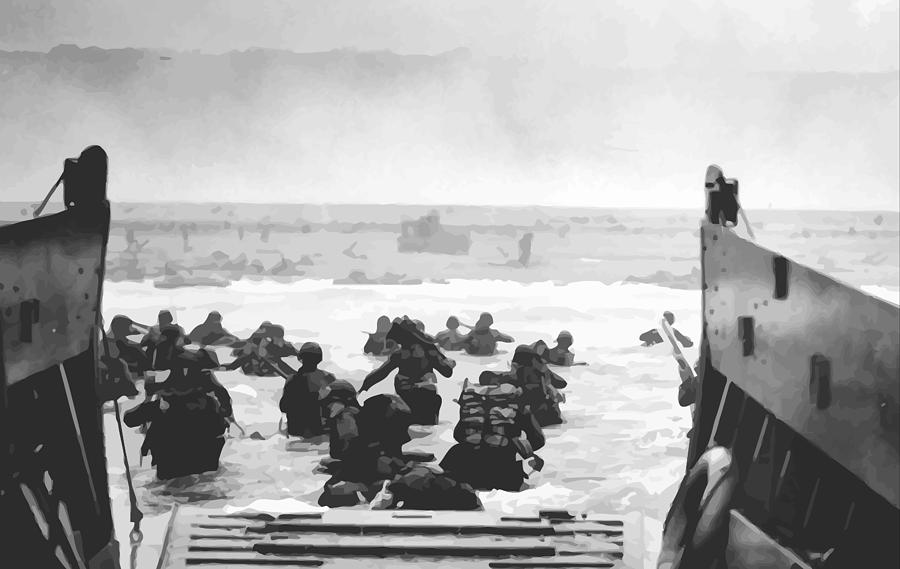 Storming The Beach On D-day  Painting