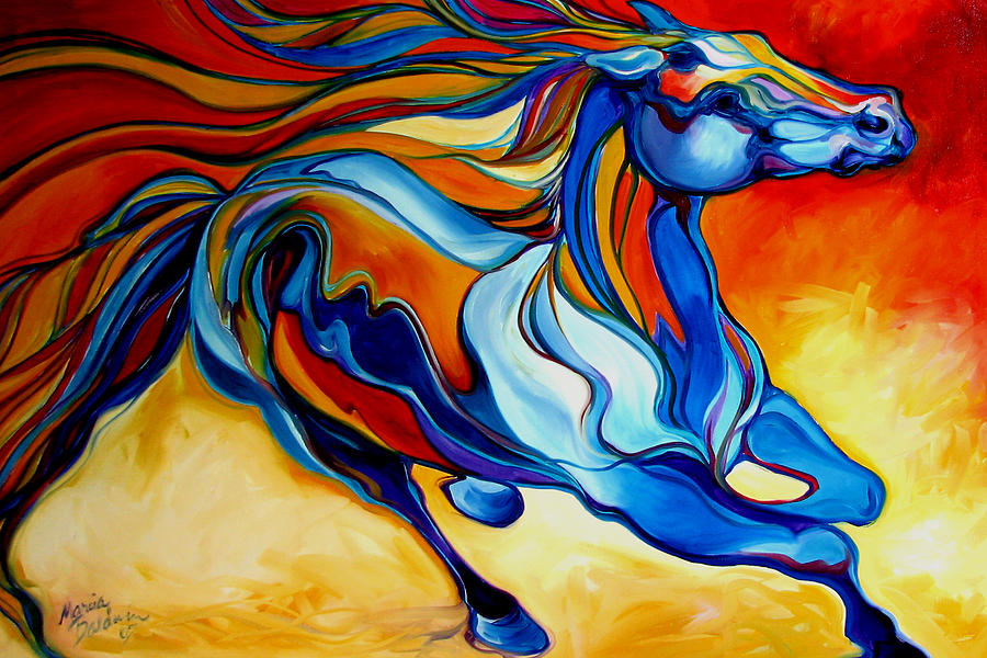 Stormy an equine abstract southwest by marcia baldwin for Abstract animal paintings