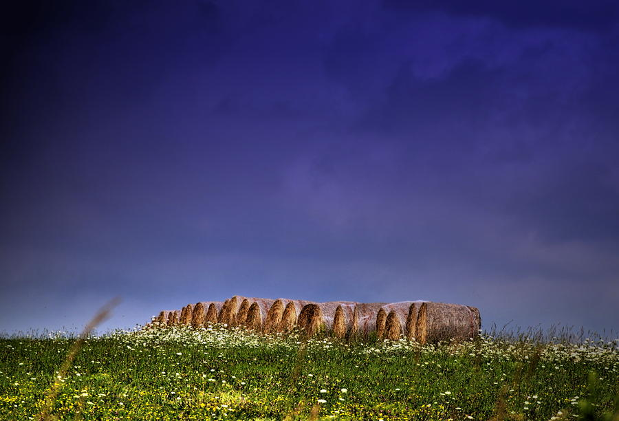 Farm Scene Photograph - Stormy Bales by Emily Stauring