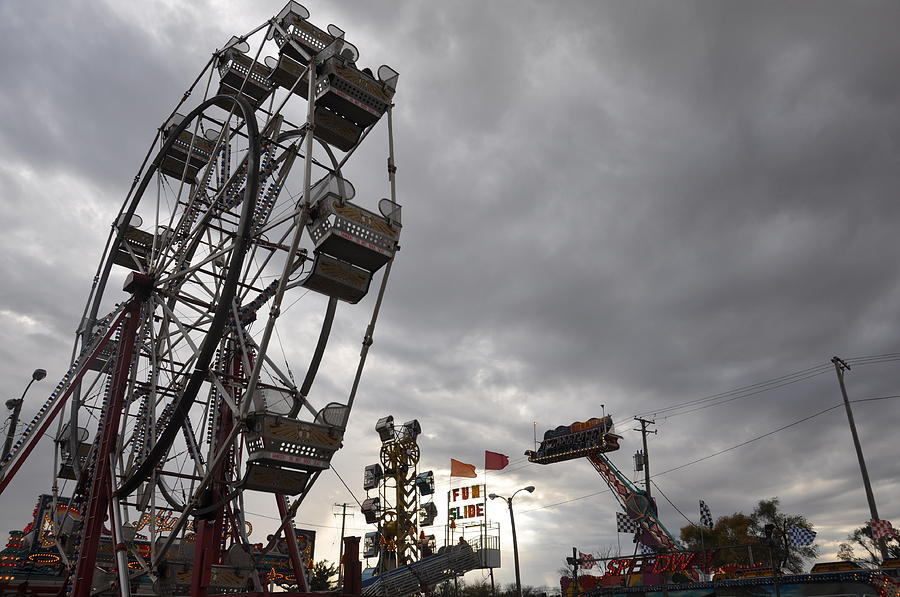 Stormy Ferris Wheel Photograph