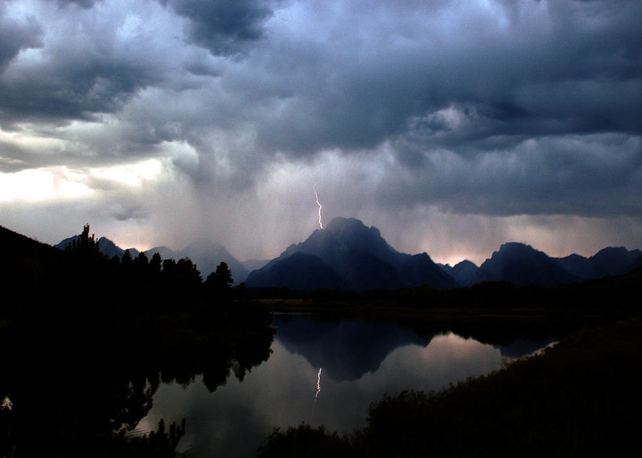 Lightning Photograph - Stormy Mountain by Jonathan Schreiber