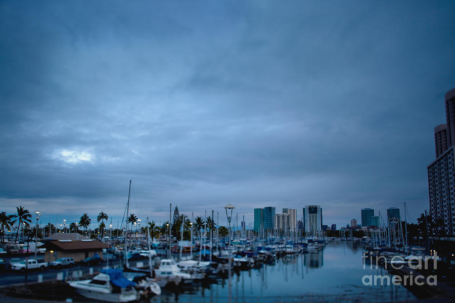 Stormy Skies Over Boat Harbor At Night, Honolulu, Hawaii Photograph
