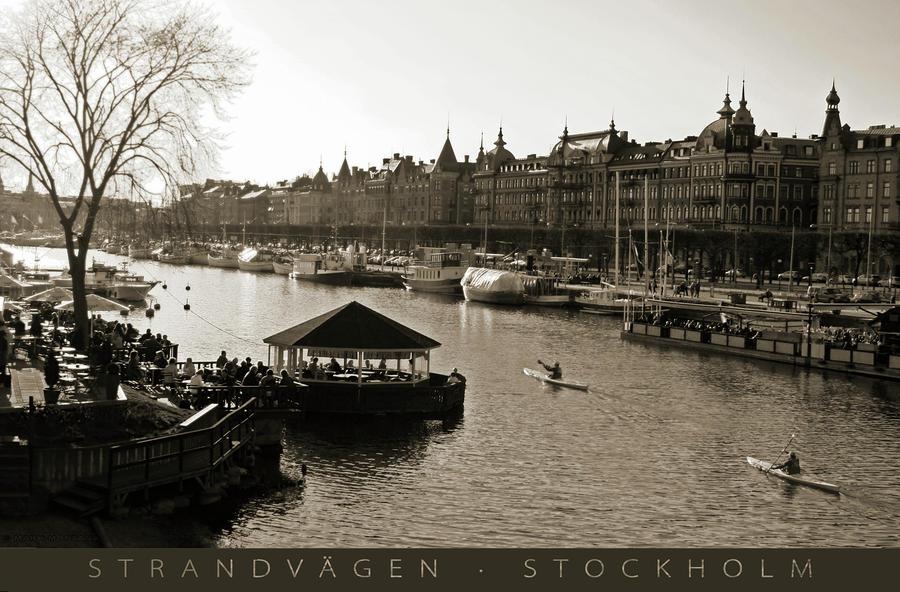 Strandvagen Stockholm Sepia Captioned Photograph