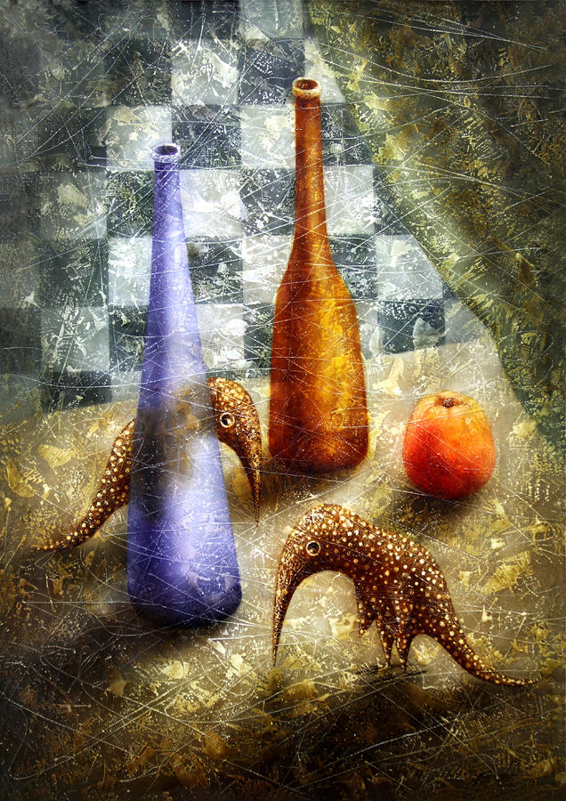 Strange Games On The Table Painting  - Strange Games On The Table Fine Art Print