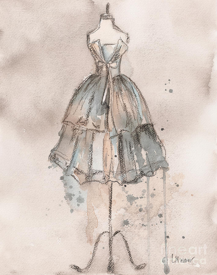 Strapless Champagne Dress Painting  - Strapless Champagne Dress Fine Art Print