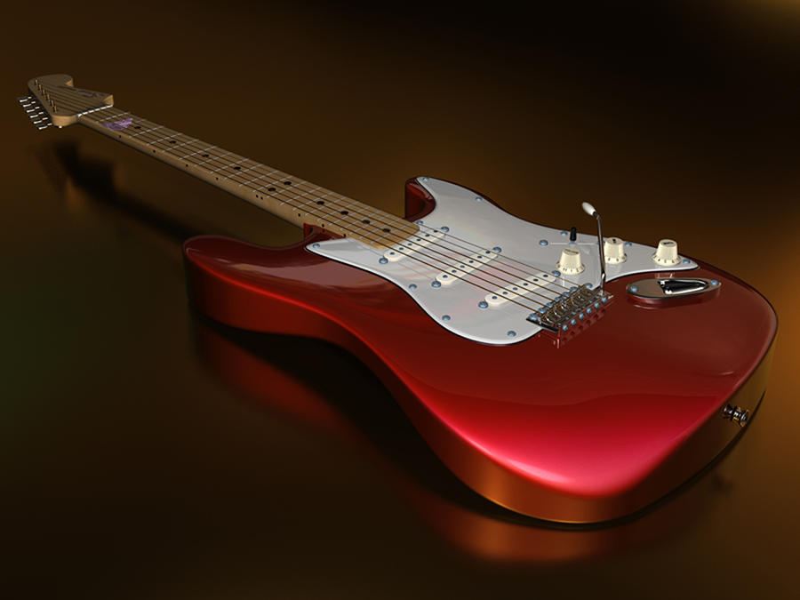 Stratocaster On A Golden Floor Digital Art