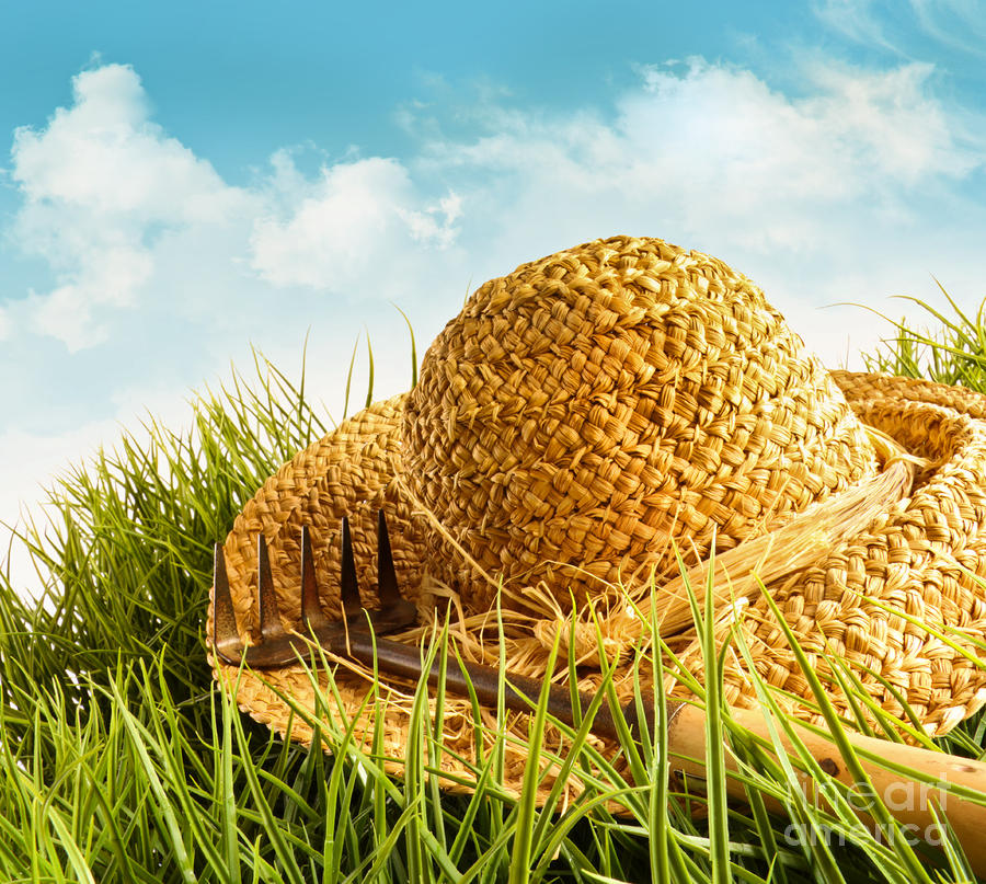 Straw Hat On Grass With Blue Sky  Photograph