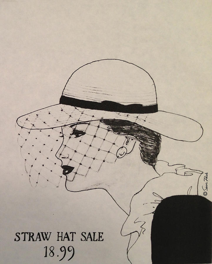 Straw Hat Drawing  - Straw Hat Fine Art Print