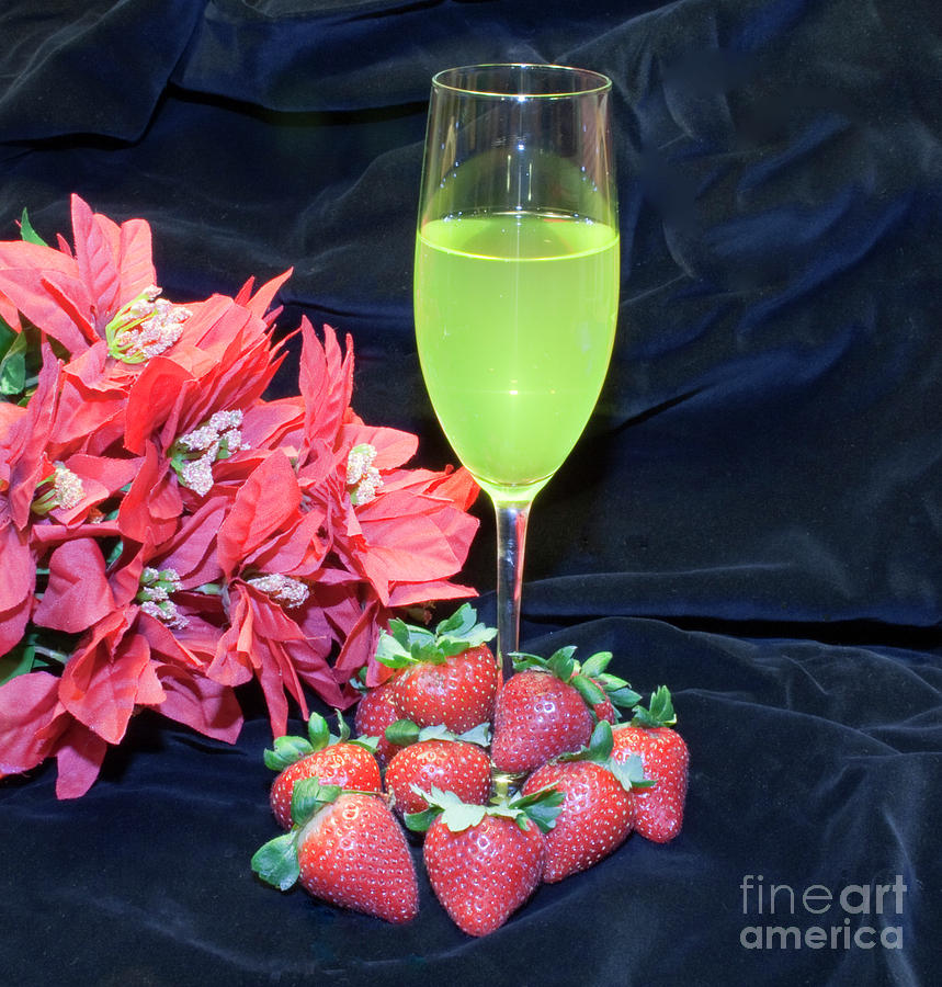Strawberries And Wine Photograph
