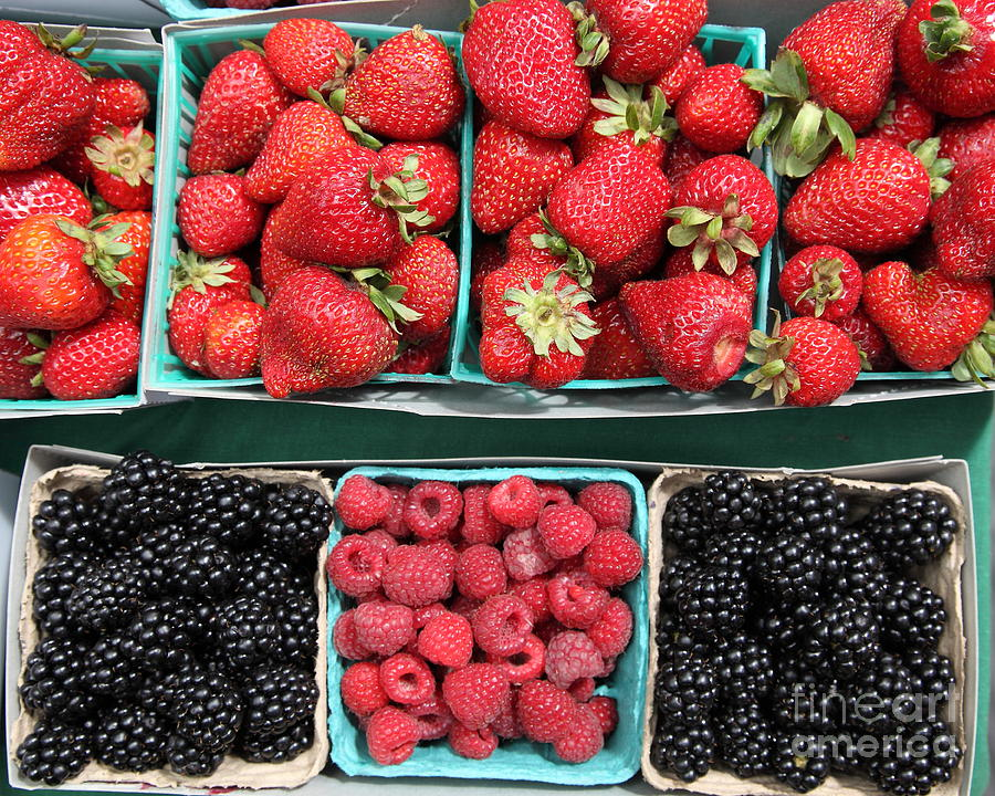 Strawberries Blackberries Rasberries - 5d17809 Photograph