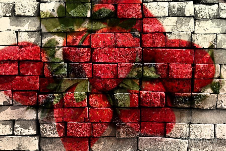 Strawberries On Bricks Digital Art