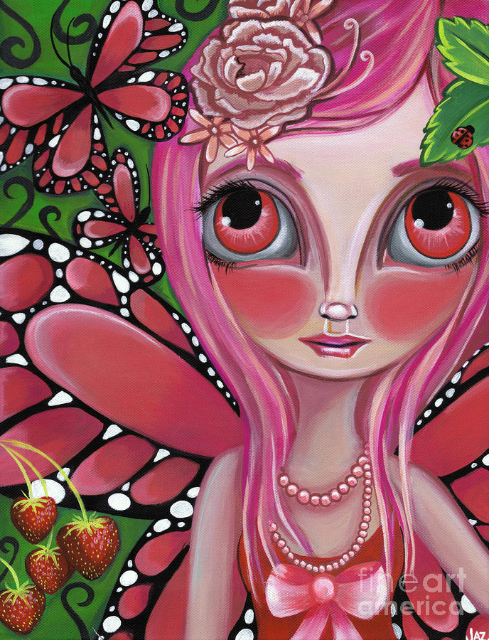 Strawberry Butterfly Fairy Painting  - Strawberry Butterfly Fairy Fine Art Print
