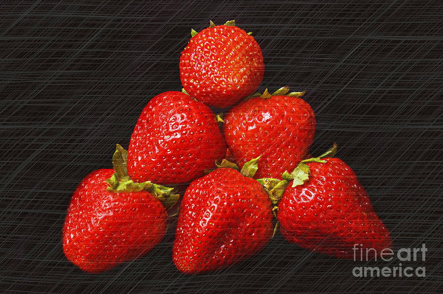 Strawberry Pyramid On Black Photograph - Strawberry Pyramid On Black by Andee Design