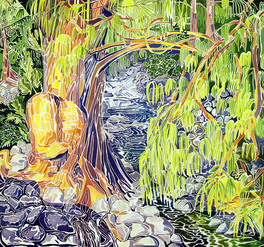 Stream At Laupahoehoe Painting  - Stream At Laupahoehoe Fine Art Print