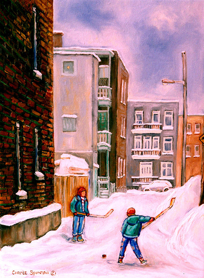 Street Hockey In Laneway Montreal City Scenes Painting  - Street Hockey In Laneway Montreal City Scenes Fine Art Print