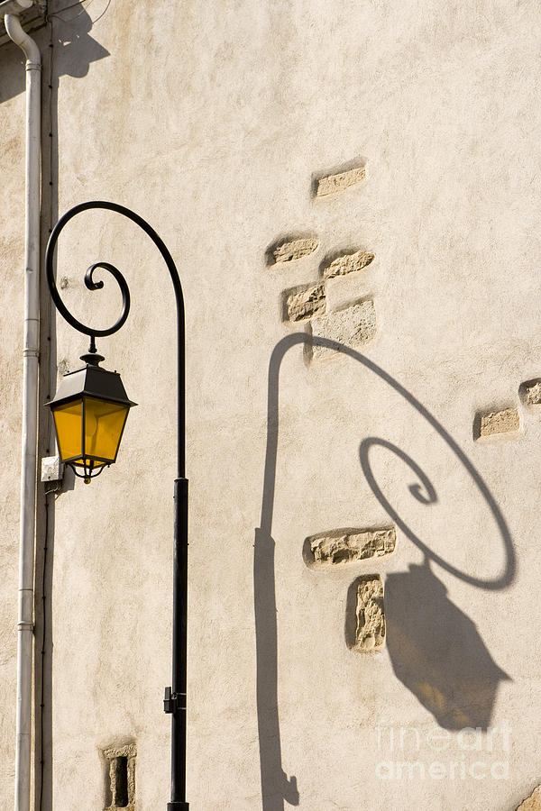Street Lamp And Shadow Pyrography  - Street Lamp And Shadow Fine Art Print