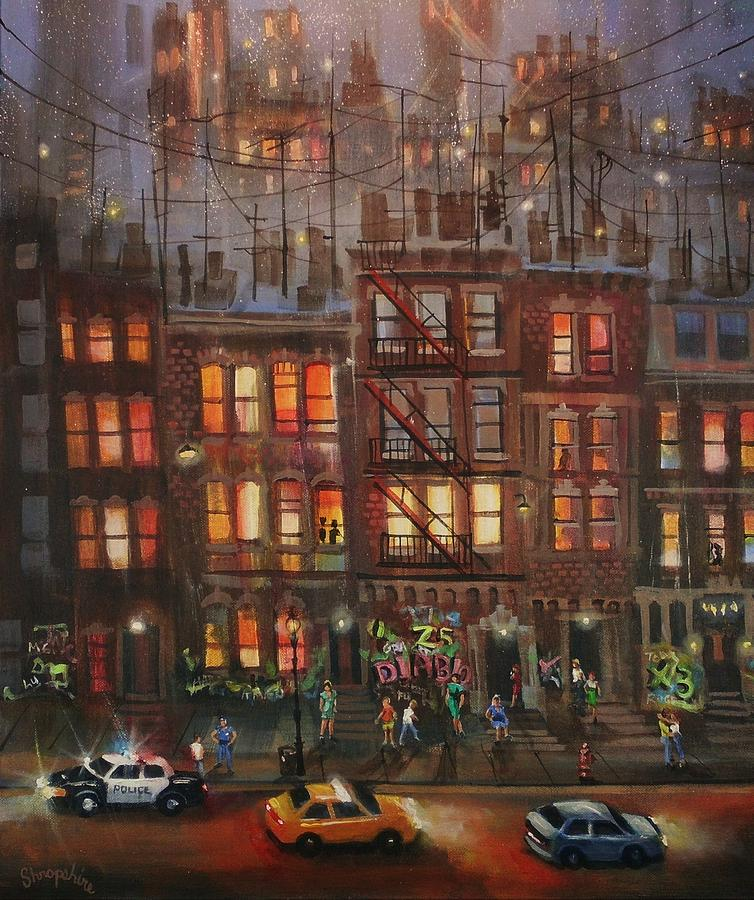 Brownstone Painting - Street Life by Tom Shropshire