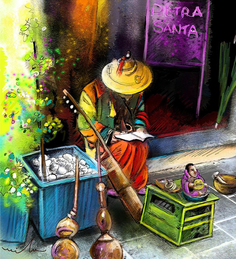 Street Musician In Pietrasanta In Italy Painting
