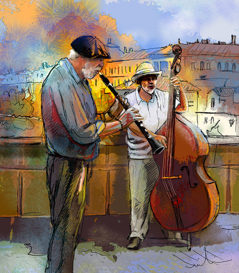 Street Musicians In Prague In The Czech Republic 01 Painting