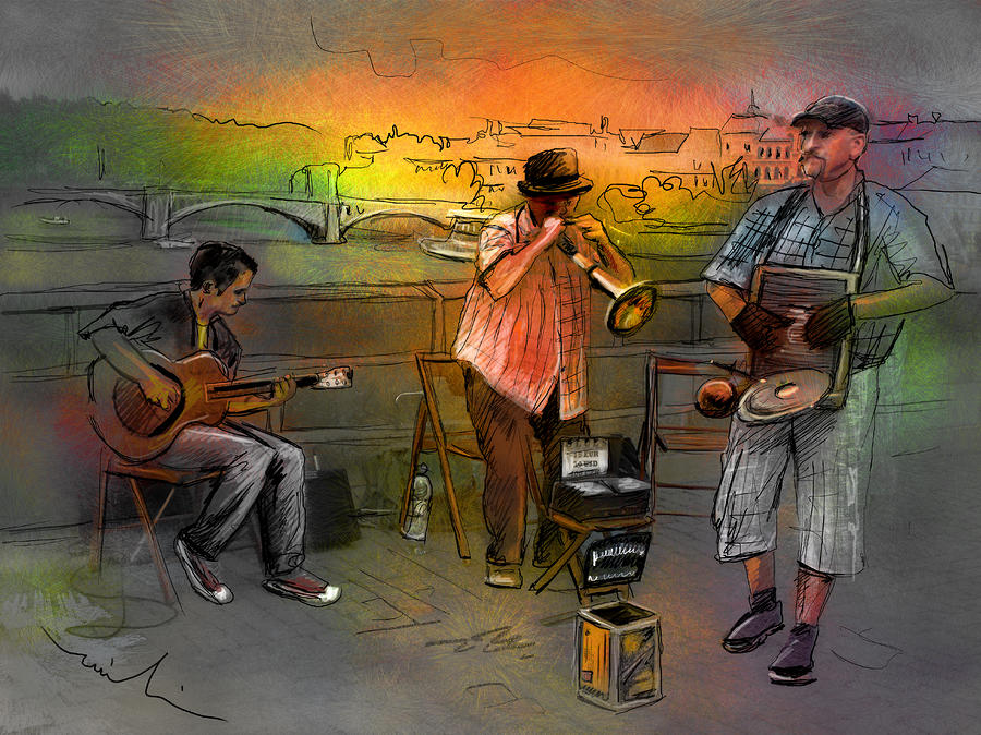 Street Musicians In Prague In The Czech Republic 03 Painting  - Street Musicians In Prague In The Czech Republic 03 Fine Art Print