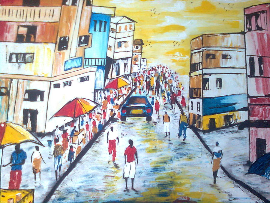 Painting - Street Walk by Kchris Osuji