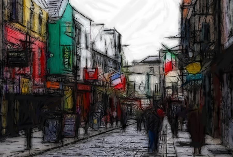 Street Life Still Flag Flags Oil Pastels Expressionism Impressionism Abstract Painting Pastel - Streetlife by Stefan Kuhn