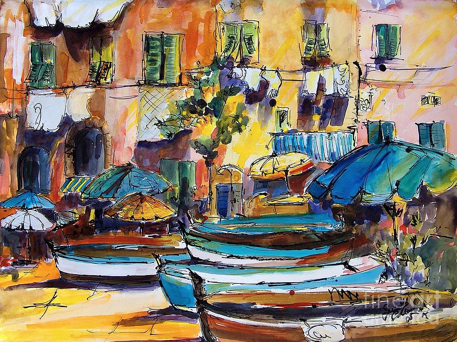 Streets Of Portofino Italy Painting