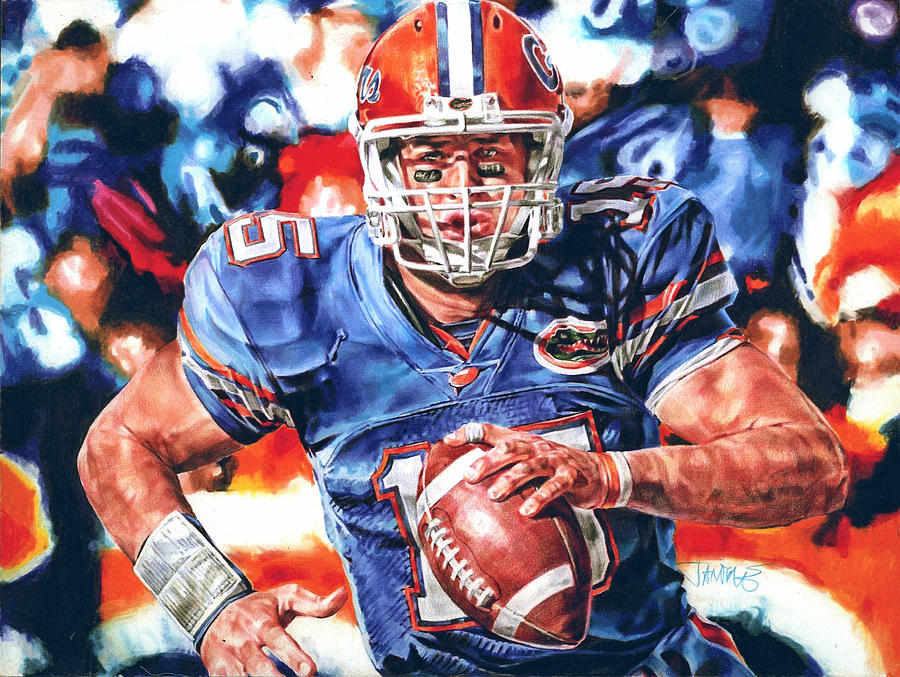 Tim Tebow Drawing - Strength by Janine Hoffman