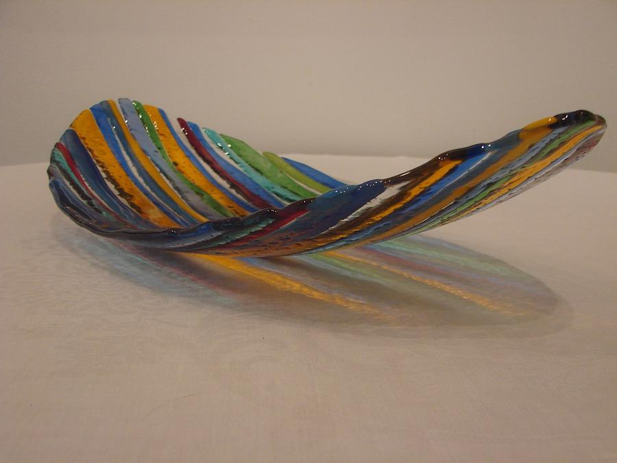Striped Dish With Bubbled Bottom Glass Art