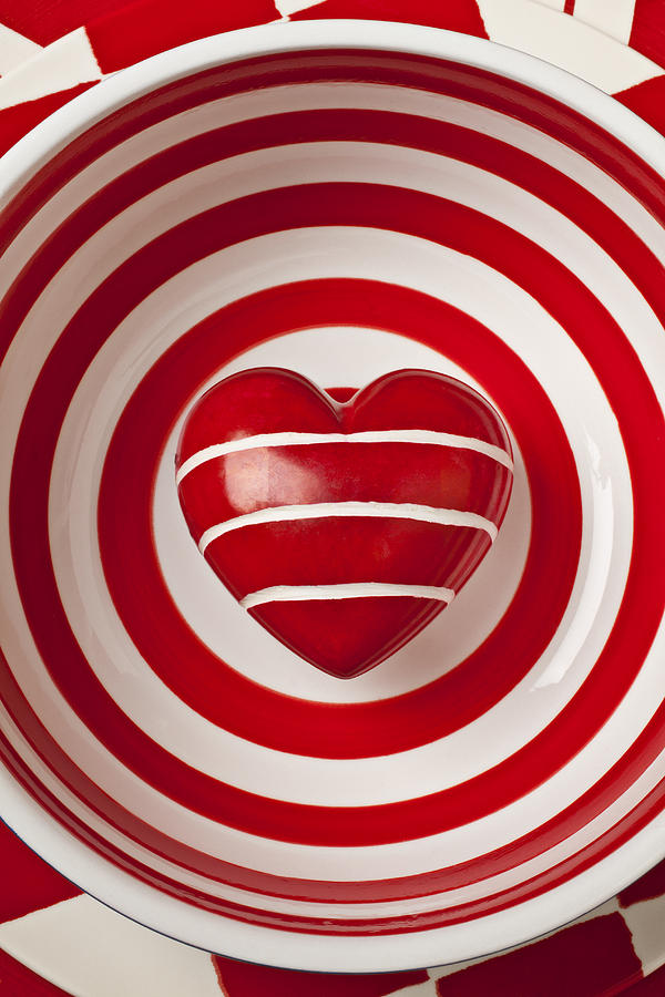 Striped Heart In Bowl Photograph