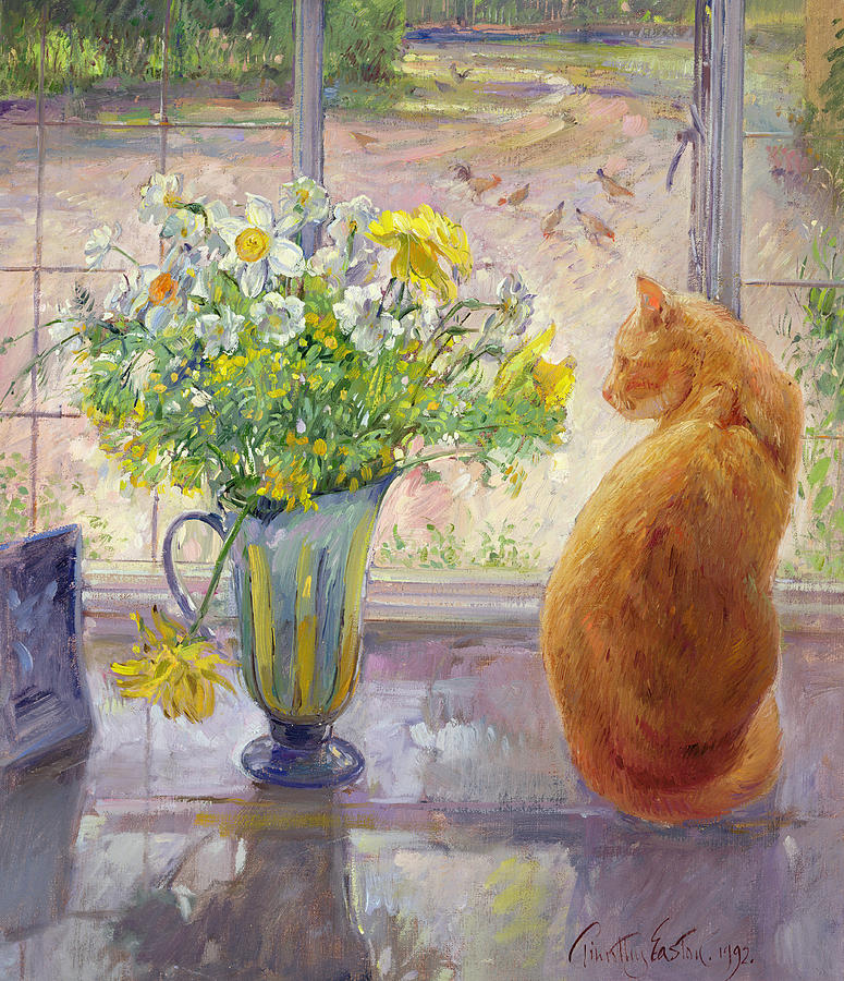 Striped Jug With Spring Flowers Painting