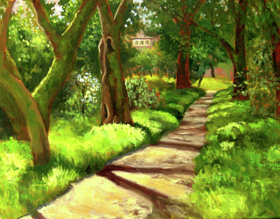 Stroll Through The Oaks Painting  - Stroll Through The Oaks Fine Art Print