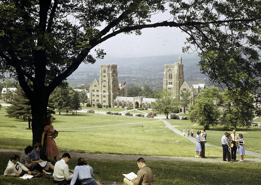 Students Sit On A Hill Overlooking Photograph