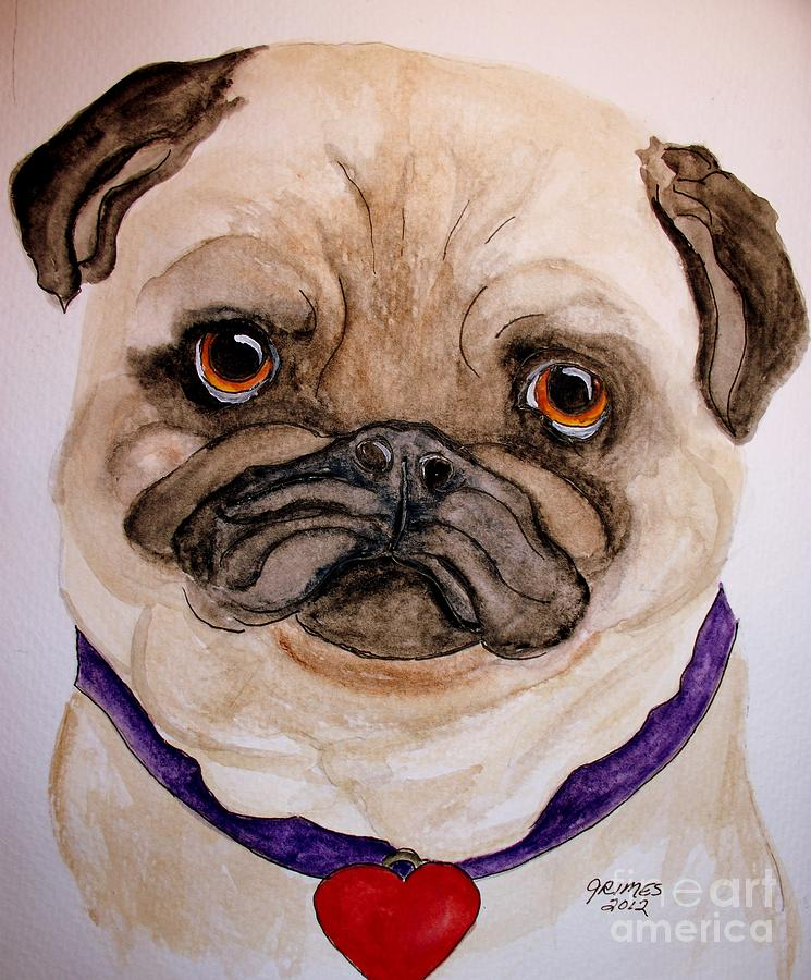 Pug Painting - Studley Has A Heart by Carol Grimes