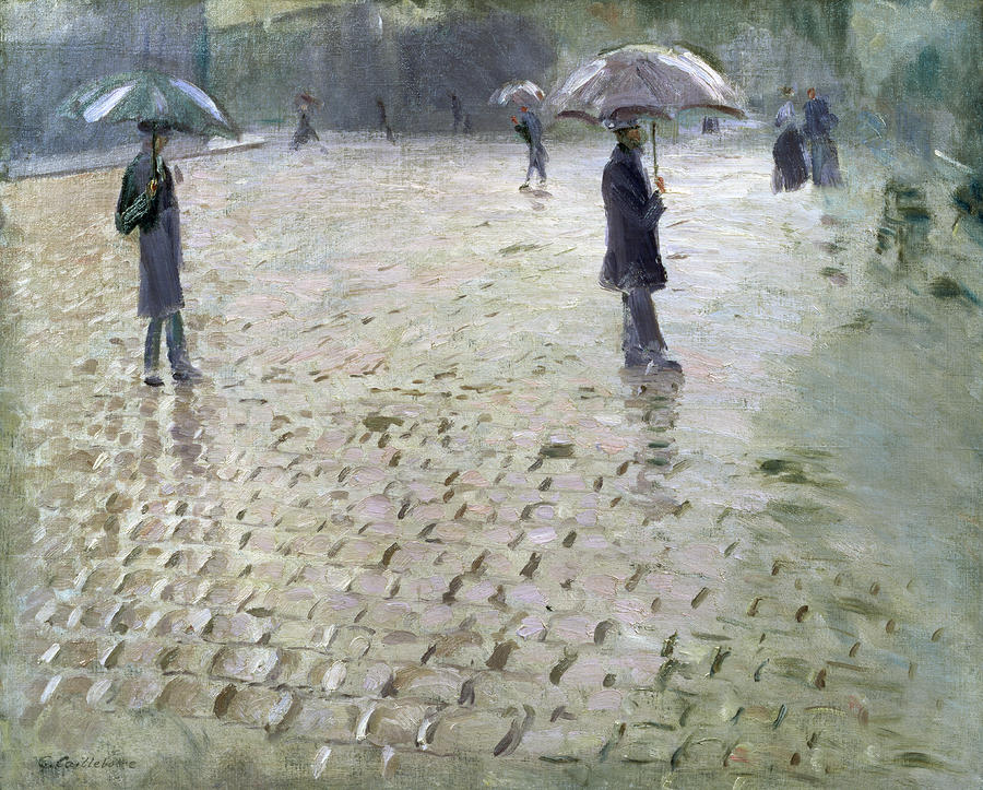 Study For A Paris Street Rainy Day Painting