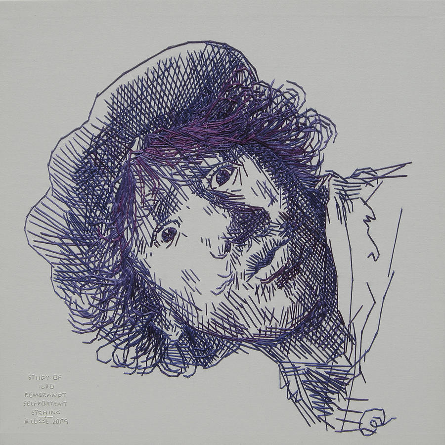 study-in-thread of 1630 Rembrandt self-portrait etching Tapestry - Textile