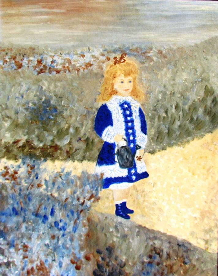 Auguste Renoir's girl With A Watering Can (study In Two Colors) Painting - Study In Two Colors by Edie Schmoll