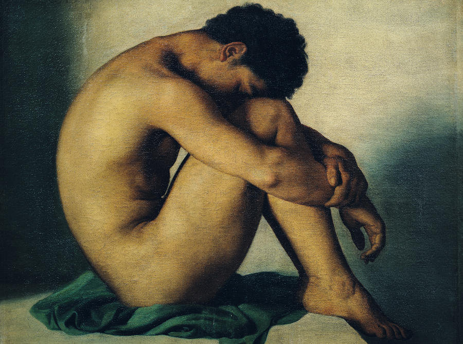 Study Of A Nude Young Man Painting  - Study Of A Nude Young Man Fine Art Print