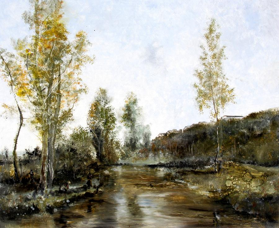 Study Of Corot - Canal At Picardy - France Painting  - Study Of Corot - Canal At Picardy - France Fine Art Print