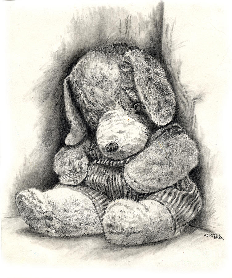 Stuffed Animal Drawing  - Stuffed Animal Fine Art Print