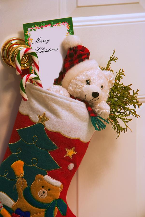 Candy Photograph - Stuffed Christmas Stocking by Carson Ganci