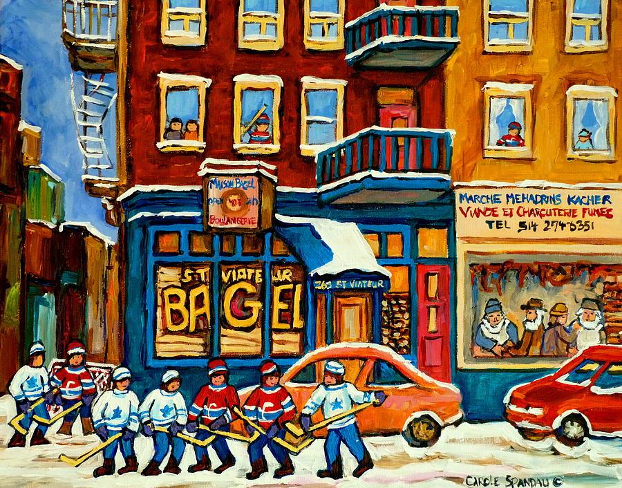 St.viateur Bagel Hockey Montreal Painting