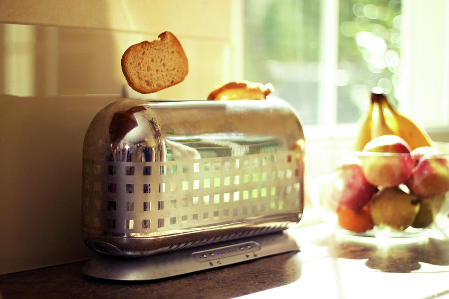 Stylish Chrome Toaster Popping Up Toast Photograph  - Stylish Chrome Toaster Popping Up Toast Fine Art Print