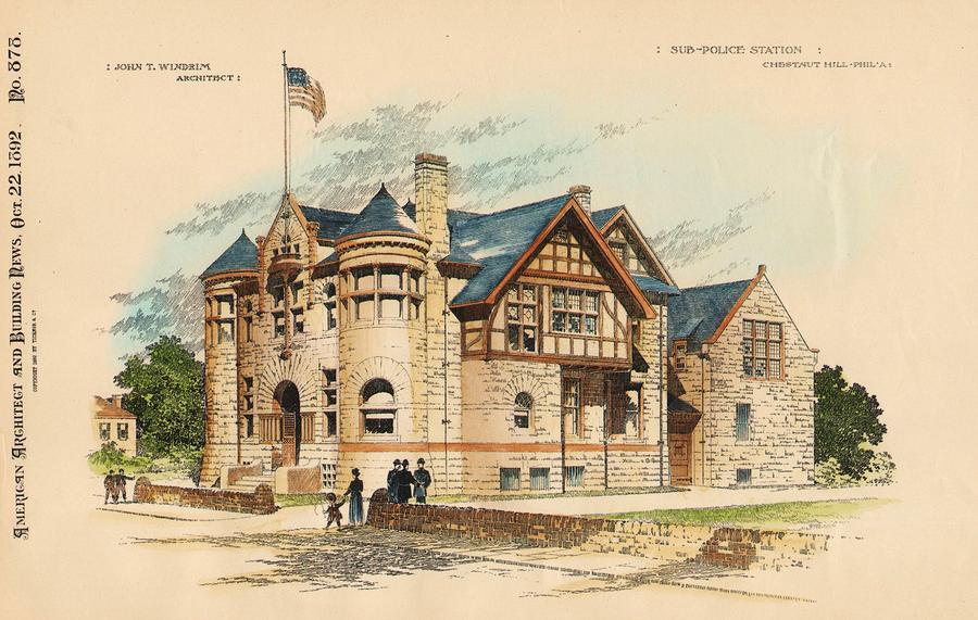 Sub Police Station. Chestnut Hill Pa. 1892 Painting