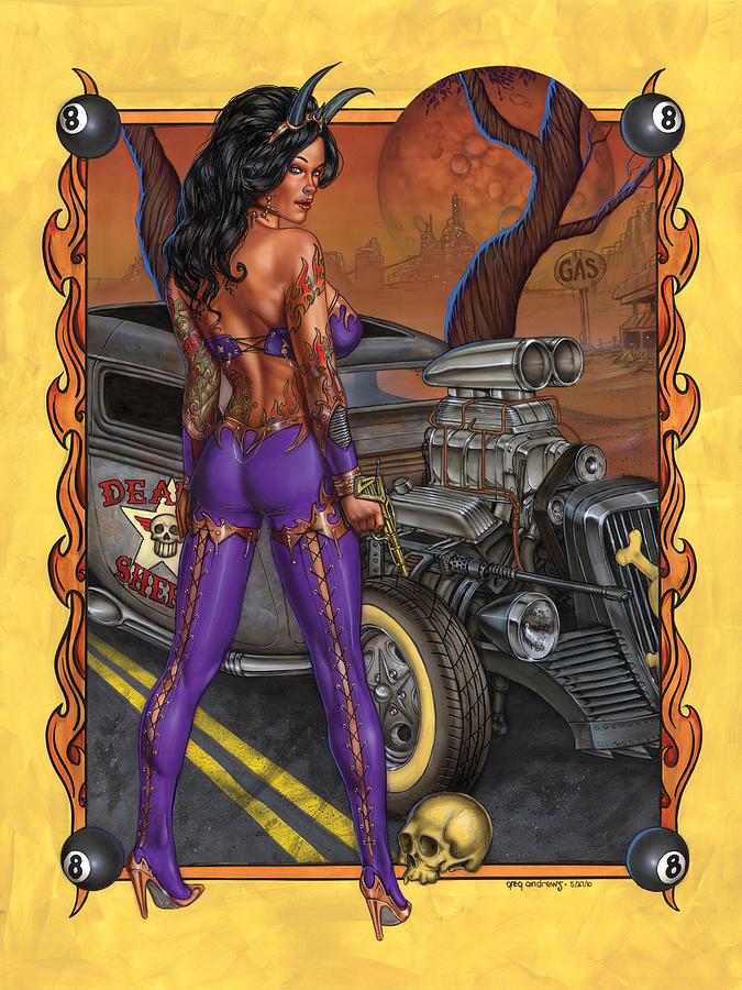 Hot Rod Pinup Car Fantasy Pinup Brunette Greg Andrews Painting - Suicide Dream by Greg Andrews