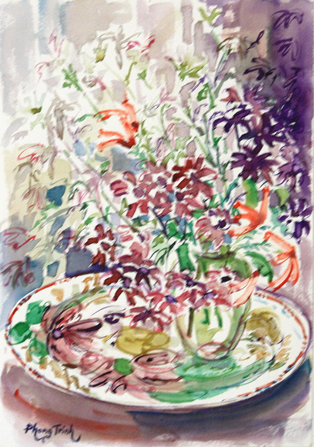 All Painting - Summer Flowers On A Plate by Phong Trinh