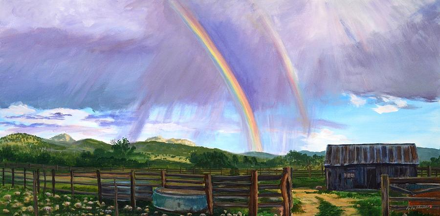 Summer Rain At The Ranch Painting  - Summer Rain At The Ranch Fine Art Print