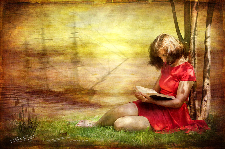Summer Reading Digital Art  - Summer Reading Fine Art Print