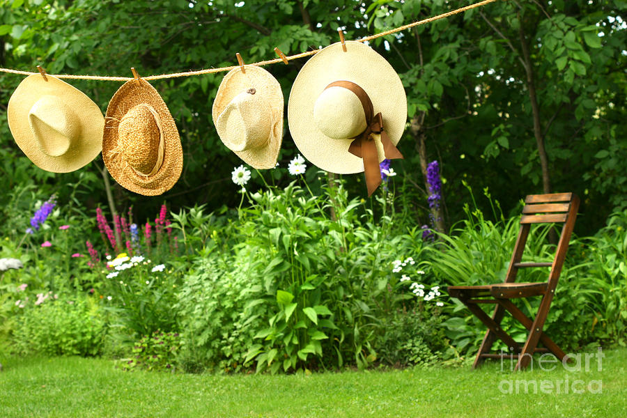 Summer Straw Hats Hanging On Clothesline Digital Art