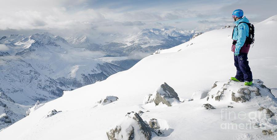 Summit Snowboarder Planning The Descent From Weissfluhgipfel Davos  Photograph